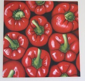 BIG original signed oil painting on canvas Peppers POP ART large artwork 88x88cm