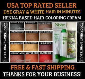 GOLDEN BLONDE HENNA HAIR COLOR CREAM DYE GRAY WHITE HAIR 12 COLORS USA SELLER