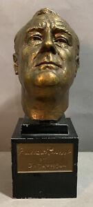 Antique ART DECO Era BRONZED Spelter FDR President ROOSEVELT BUST Old SCULPTURE