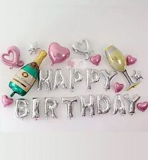 25pcs/lot Champaign Glass Theme Happy Birthday Letter Party Foil Balloons Set UK