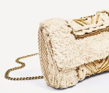 Zara Quilted ECRU Ivory Offwhite Tweed Flap Bag Silver Tone Pom Poms Cotton NEW