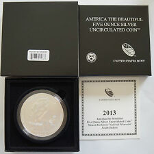 2013 USM 5 OZ P AMERICA THE BEAUTIFUL MOUNT RUSHMORE NATIONAL MEMORIAL W/COA NQ9