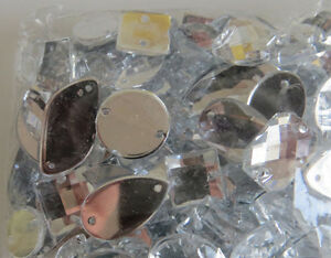 25 Faceted Acrylic Sew On, Stitch On, Stick on DIAMANTE Crystal Rhinestone GEMS