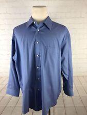 Joseph&Feiss Men's Big and Tall Blue Solid Cotton Dress Shirt 18-32/33 $98