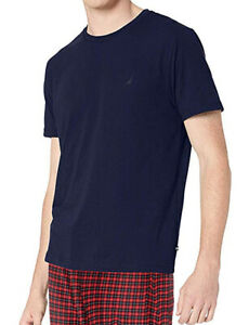 New Mens Nautica Sleepwear Crew Neck Short Sleeve Navy Nightshirt T Shirt Tee S