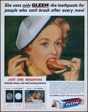 1958 Young woman eating hamburger Gleem toothpaste retro photo print ad adL39