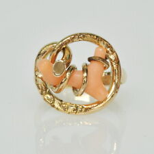 Ladies 14k Yellow Gold Wrapped Coral Branch UNIQUE Gemstone Estate Ring