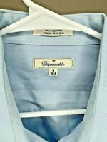 Faconnable Mens Shirt Designer Blue LS XL