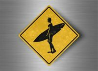Sticker decal warning car beware road sign warning surfer