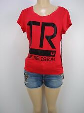 NWT True Religion TR BAR S/S ROUNDED  V Neck Tee, RED, Sz S, Retail $75