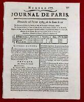 Artillerie 1785 Canon Aéro pneumatique de Charles Millon Journal de Paris