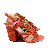 CABI Tiptoe Vibrant Rope 6012 Sandals  Sz 7 Chunky Heels! Ankle Strap.