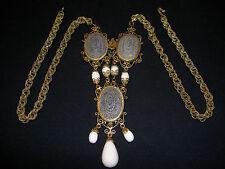 Vintage Schreiner Mosaic Milk Glass Filigree Scroll Egyptian Chandelier Necklace