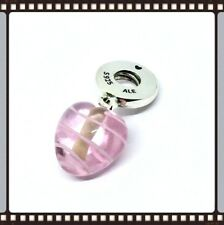 Pandora Silver Pink Ribbon Murano Glass Heart Charm S925 ALE