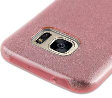 For Samsung Galaxy S7 - HARD TPU RUBBER SKIN CASE COVER PINK SHINY GLITTER SHEET
