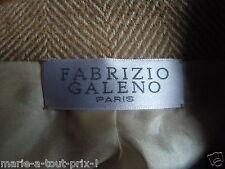 FABRIZIO GALENO PARIS HAUTE COUTURE VESTE JUPE TAILLEUR LAINE BEIGE 38 / 40
