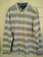 TOMMY HILFIGER Mens  Shirt Size XXL Long Sleeve Striped Blue White Flag