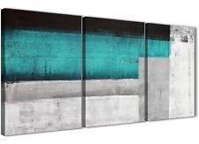 3 PEZZI Color Foglia Di Tè Turchese Grigio DIPINTO CAMERA DA LETTO ARTE in Tela-ASTRATTO 3429 - 126 cm