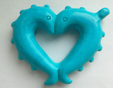 Large Carved Blue Turquoise Twin Fish Heart Pendant. For Jewellery Making