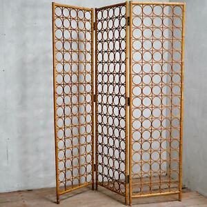 Vintage Wicker Rattan Bamboo Screen Mid Century Room Divider