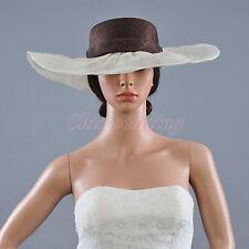 Floral Church Kentucky Derby Hat Sinamay Wide Brim Wedding Dress Tea Party Hats