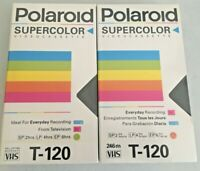 NEW SEALED POLAROID SUPERCOLOR VIDEOCASSETTE LOT OF 2 T-120 6HRS BLANK VHS TAPES