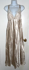 NWT Flora by Flora Nikrooz caramel beige Noel Charmeuse Gown sz S lace trim