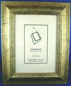 """Retro FRAMEWORTH (6""""x 8"""") GOLD MARBLED Wooden Photo Frame with Fold-Out Stand AU"""