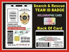 SEARCH AND RESCUE ID Badge/ Card >>>CUSTOM With Your Photo & Info<<< PVC SAR USA