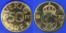 50 ORE 1979 U CARL XVI GUSTAF SVEZIA SWEDEN Fdc Unc #6428A