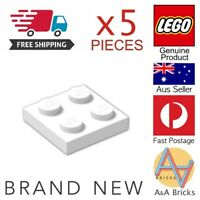 Genuine LEGO® Parts - 2x2 Plate - White - Part 3022 (x5 Pieces) - FREE POST