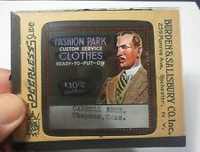 "Vtg Magic Lantern Slide Ads ""Fashion Park Clothes"" VERY RARE Peerless Theatre"