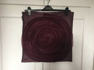 """PAOLETTI CUSHION COVER - PLUM/WINE VORTEX RAISED FRILLED FLOWER - 18"""" SQUARE NEW"""