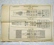 Cie de Navigation Mixte Paquebot EL DJEZAIR Deck Plan 1952
