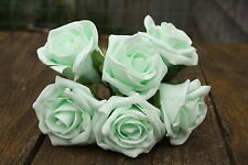 6 x PALE MINT GREEN COLOURFAST FOAM OPEN COTTAGE  ROSES 6cm