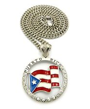 """NEW ICED OUT """" PUERTO RICO FLAG """" PENDANT & 36"""" 6mm CUBAN LINK CHAIN."""