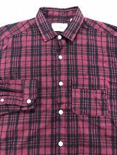 Oliver Spencer button front Shirt 14.5 S Red Black Plaid L/S 45% Linen