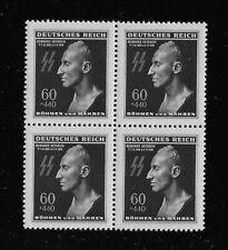 MNH 1943 stamp BLOCK  Reinhard Heydrich Death mask / Third Reich WWII occupation