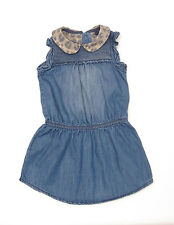 L138/16 Next  Baby Girl's  Blue Denim Dress with Animal Print Collar,12-18 month