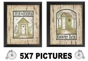 💗 Outhouse Pictures 5x7 Bathroom Wall Hangings Bath Outhouses