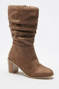 Womens Mid Calf Boots Size 5 Brown Taupe Block Heeled Slouch Ruched Faux Suede