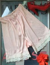 "Vintage pink nylon & lace tap panties pettipants - Medium W: 24""-32"" H: 37""-40"""