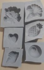 6 piece TROPICAL Candy Cream Cheese Mint Grey Rubber Molds seashell pineapple