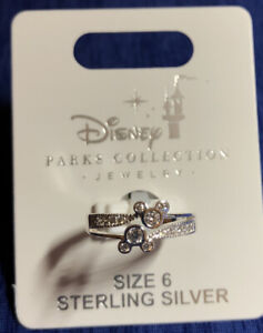 Disney Parks Mickey Double Icon Swarovski Crystals Sterling Silver Ring Size 6