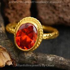 OMER  STERLING SILVER ORANGE GARNET ROMAN ART SOLITARE RING 24K GOLD VERMEIL