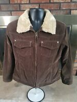 Cabelas Corduroy Sherpa Lined Collar Button Up Brown Jacket Womens Size Medium