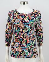 Talbots Top Womens Navy Blue Colorful Bright Paisley Print Stretch Knit Medium