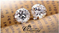 925 Stirling Silver 18K White Gold Clear Crystal Stud Earring RRP:$49