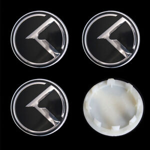 4x 60mm Black K Logo Car Wheel Hub Center Cap Covers Tire Rim For KIA Optima Rio