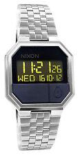 Nixon A158000 Re-Run Black Digital Silver Stainless Steel Bracelet Watch New